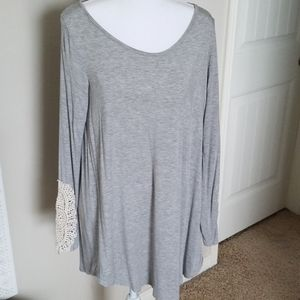 Gray Tunic with lace detail